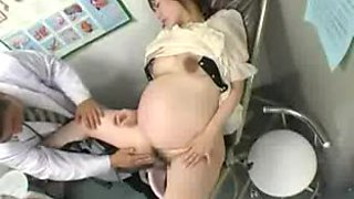 Pregnant Japanese girl toys herself in a hospital