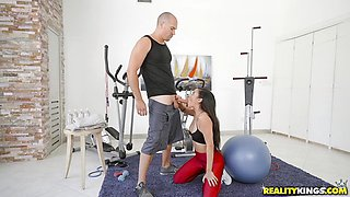 Balls deep in the minge hole in the gym with Maya Bijou