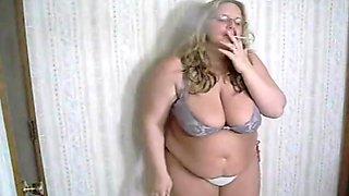 Veronica Vaughn - Smoking in bra and thong