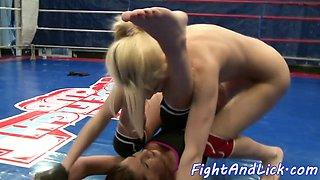 Wrestling dyke gets her asshole rimmed