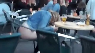 Drunk girl in restaurant