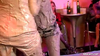 wild mud wrestling between two hot babes