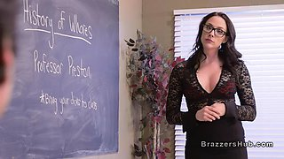 Three students bangs big tits teacher in school