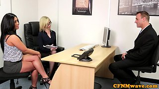 CFNM secretaries sucking and jerking dick