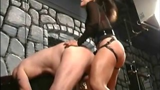 Harsh Mistress strap-on fucks sub