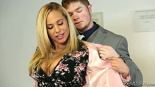 Big tittied slutty hottie sucks her buddy off in her office