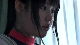 Busty Oriental girl in uniform indulges in wild sex action