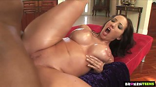 Giant breasted MILF Kelly Divine gets all oiled before being analfucked hard