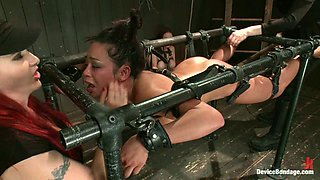Dominatrix Mz Berlin Playing with Busty Bella Rossi in BDSM Vid