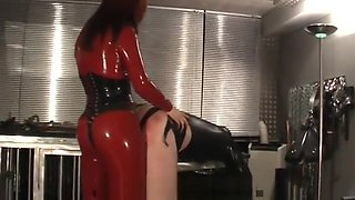 German redhead mistress fucking slave with strapon cock