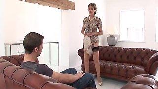 British lady and junior guy fun on sofa