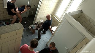 Multiple shags with Natalie Hot in a public bathroom caught on camera