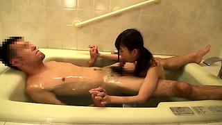 Petite Asian girl with small tits has sex with an older man