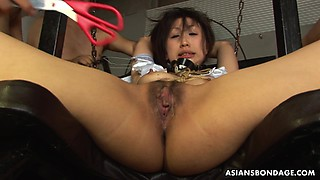 Dudes destroy the babe's wet tied up pussy
