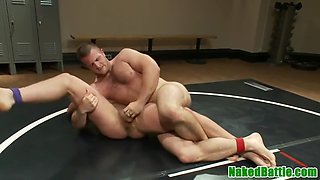 athletic stud gets handjob at wrestling