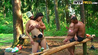 Ardent and spoiled Veronica, Roxi & Olympia please woodcutters' dicks