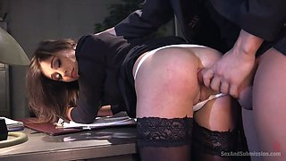 Horny curvy secretary Kacie Castle gets bent over the table and fucked hard