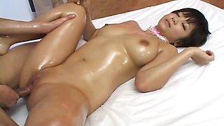 Nasty oiled up Meguru Kosaka hot double fuck