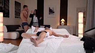 Popping the buttons off her blouse, sexpot Susana Alcal preps herself to fuck