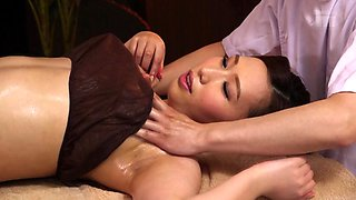 Erotic oiled up Japanese massage with a great fuck finish