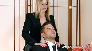 Hot blonde bimbo Aria Logan is nailed by her horny boss