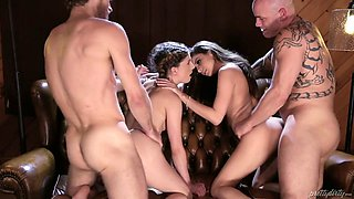 Sweetie Nina North and her girlfriend are fucked by two dudes