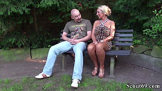 German Big Tits MILF Seduce Stranger to Fuck in Park