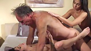 Old Young Porn Teens share old man and ride his cock