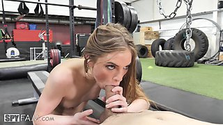 Slim chick Summer Brooks lets a friend fuck her in the gym