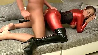 Incredible homemade Latex, Brunette porn video