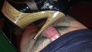 high heels and fishnet wank, foot job