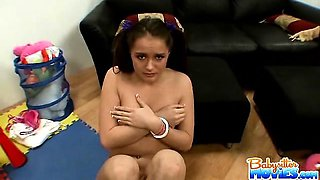 Small titty lovely babysitter Tori gets caught naked on the