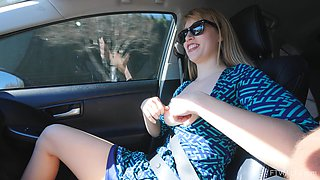 Kinky chick Verronica exposes her tits while she drives in a car