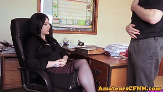 Office CFNM babe dicksucking teasingly