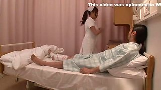 Naughty Japanese AV model is a wild nurse on the floor
