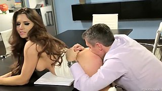 brickhouse secretary veronica vain makes out with boss in conference hall