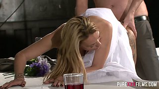 Cuckold groom enjoys watching how dude fucks his future wife Stacey Saran