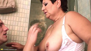 Grandma Mariette Brings All The Boys To The Bathroom!