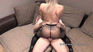 Fake agent uk bangs blonde model in pantyhose