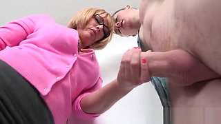 Glamcore MILF seduces couple in the shower