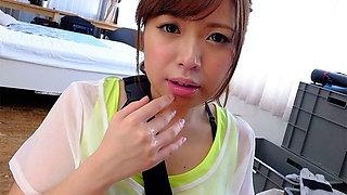 Petite Japanese chick Mei Wakana swallows small hairy fuck s