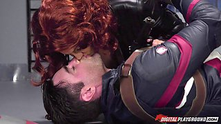 Captain America pulls out his cock to fuck Black Widow