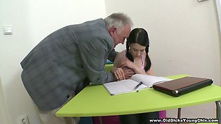 Cute teen with pigtails Mila gets drilled by aged teacher