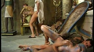 A crowd of stunning hotties fuck horny dudes in ancient costumes on cam