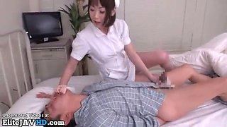 Japanese horny nurse empties her patient
