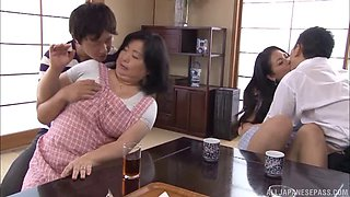 Japanese plumpers and their men have a sexy foursome