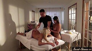 Classy milfs sharing masseurs hard dick