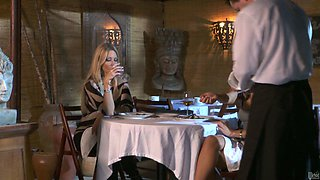 Romantic dinner ends up with pussy fingering for Asa Akira
