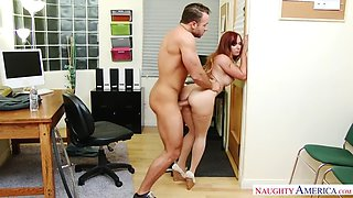 spectacular redhead dani jensen fucks huge cocked colleague in office