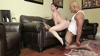 Flexible babe Mia Gold gets stuffed by aroused black stud in doggy pose